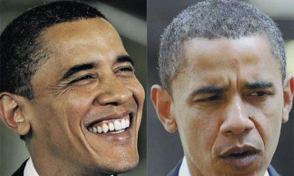 Barack obama med gråt hår